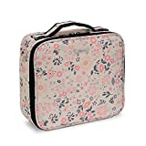 JOLIGRACE Portable Makeup Train Case Travel Size Cosmetic Bag Organizer with Brush Holder Pockets and Removable Dividers for Makeup Artist (White Floral)