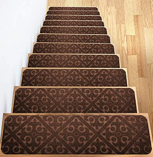 "Carpet Stair Treads Set of 13 Non Slip/Skid Rubber Runner Mats or Rug Tread - Indoor Outdoor Pet Dog Stair Treads Pads - Non-Slip Stairway Carpet Rugs (Brown) 8"" x 30"" Includes Adhesive Tape"