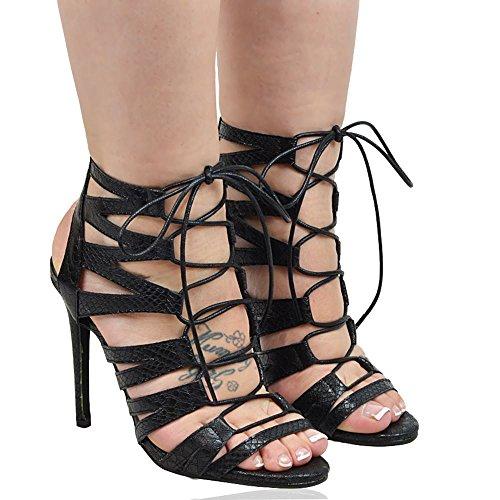 Essex Glam Chaussures À Talons Hauts Femmes Lacets Sandales Noires En Cuir Synthétique