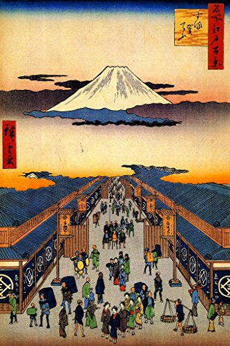 Utagawa Hiroshige Surugacho One Hundred Famous Views Edo Poster 12x18 inch