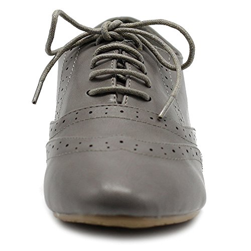 Women's Heel Low Classic Grey Lace Shoe Flat Ollio Oxford up Dress aqd8EYw