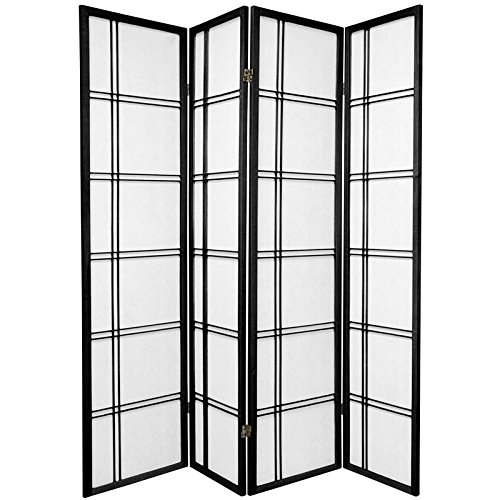 (ORIENTAL Furniture Asian Home Decor Double Cross Double Sided Shoji Privacy Screen Room Divider, 4 Panel Black )