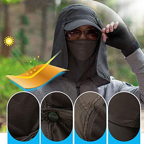 quanjucheer Capuchon de pêche, Protection UV extérieur pour Le Visage, Le Cou, la tête et la visière 2