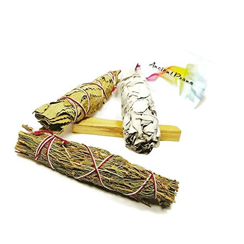 Smudge Stick Kit- Bonus Palo Santo,White Sage, Desert Sage and Yerba Santa for blessing your home and loved ones, also clears negative energies. Contains Special herbs for creating barriers. (Palo Buy Wood Santo)