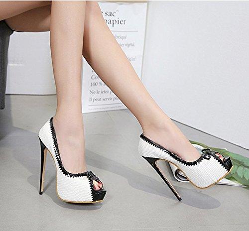Petite À Noires Bouche Des le Une Khskx Hauts Chaussures Femme 8 5cm De Bow Correspond Thirty Blanches Talons Poisson Printemps six Et B7wwvXzq