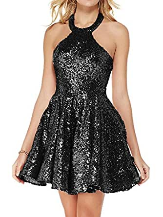 Jonlyc A Line Halter Backless Short Sequin Homecoming Dresses Black 18W