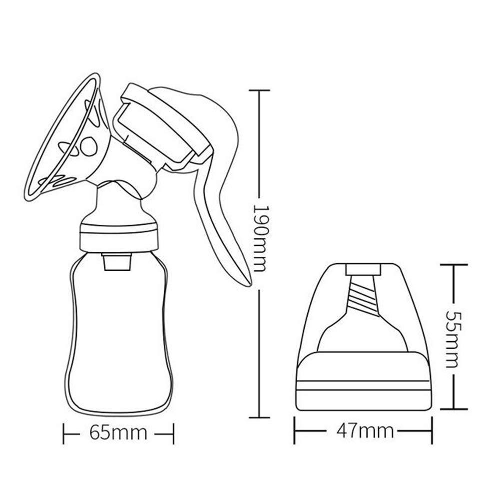 Extractor de Leche Manual Port/átil con tapa BPA Breastpump ergon/ómico mango giratorio para manos libre del pecho 1pc Alimentaci/ón