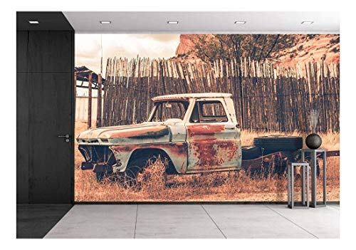 (wall26 - Antique Clunker Pickup Truck Abandoned Somewhere in Arizona. Vintage Transportation - Removable Wall Mural | Self-Adhesive Large Wallpaper - 100x144 inches )