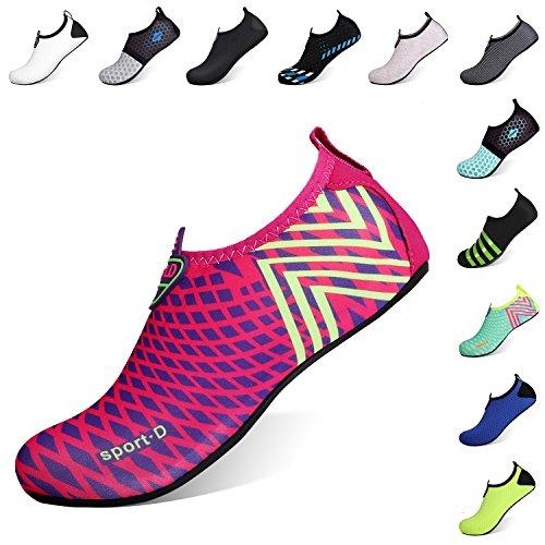 Heeta Water Sports Shoes for Women Men Quick Dry Aqua Socks Swim Barefoot Shoes for Beach Pool Surf Swim Yoga Rose Red L