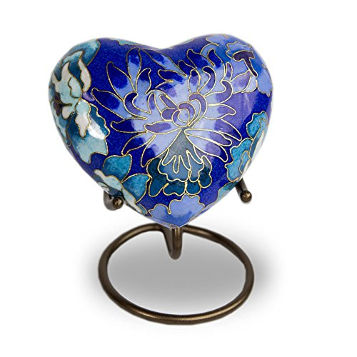 OneWorld Memorials Floral Cloisonne Heart Bronze Keepsake Urns - Extra Small - Holds Up to 3 Cubic Inches of Ashes - Cloisonne Blue Cremation Urn for Ashes - Engraving Sold Separately