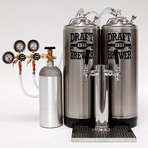 Kegerator King - Two Ball Lock Keg Mini Fridge Conversion Kit for Homebrew Beer with Draft Tower, Dual Body CO2 Regulator, and 5 lb. CO2 Cylinder by Draft Brewer