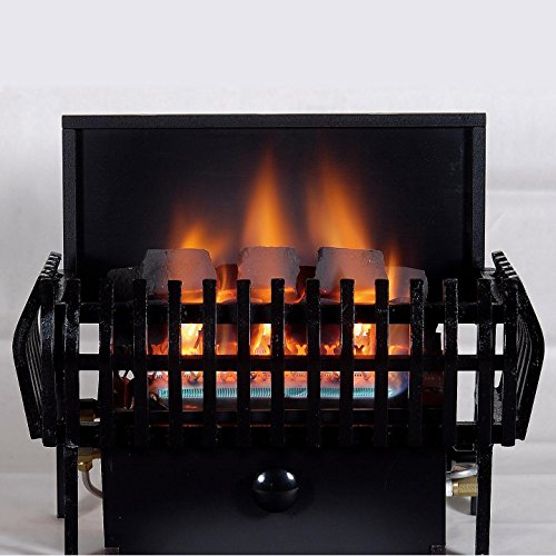Rasmussen 16-inch Chillbuster Fireplace Set With Vent Free Natural Gas Coalfire Classic Style Basket Burner - Manual Safety Pilot