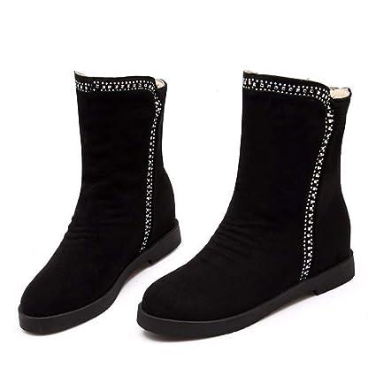 bd50177c1ae9c Amazon.com: DETAWIN Women Mid Calf Boots Wedge Winter Faux Suede ...