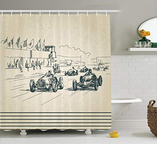 Ambesonne Vintage Car Shower Curtain, Vintage Racing Cars Exciting Sport Nostalgic Sketchy Doodle Style Print, Fabric Bathroom Decor Set with Hooks, 70 Inches, Forrest Green
