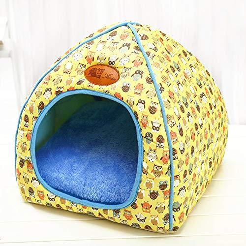 (ETbotu Pet Dog Bed Sofa Warming Dog House Soft Dog Nest Winter Kennel for Puppy Cat Dog Pet Yellow M )