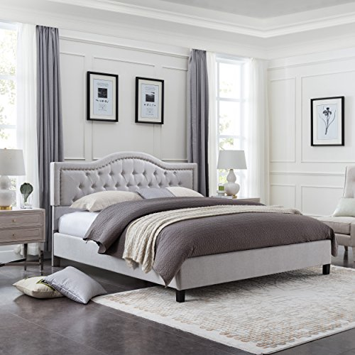 (Christopher Knight Home 305783 Margaret Fully-Upholstered Traditional King-Sized Bed Frame, Light Gray, Dark Brown)