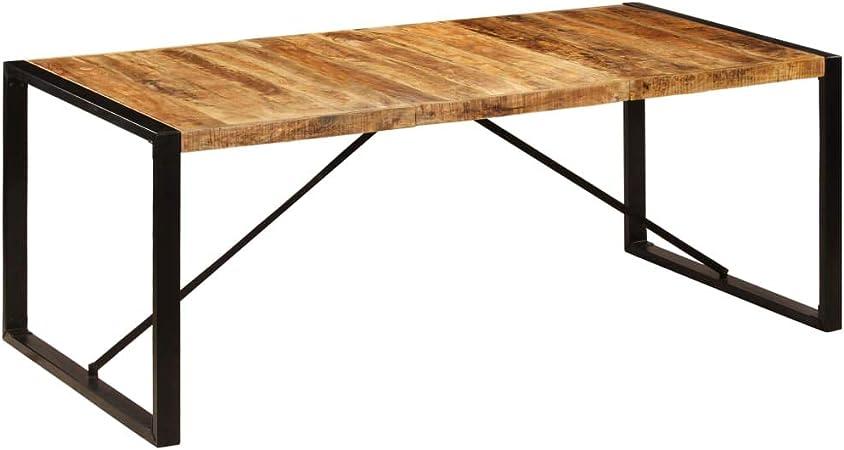 vidaXL Legno Massello di Mango Tavolino Industriale Rustico Solido Robusto Vintage Accattivante Altezza Regolabile Com/ò Tavolinetto da Salotto Ghisa