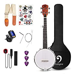 Vangoa 5 String Banjo Closed Solid Back ...
