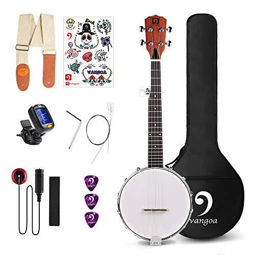 Vangoa 5 String Banjo Closed Solid Back with beginner Kit, Tuner, Strap, Pick up, Strings, Picks and Bag (Best Banjo Strings For Bluegrass)