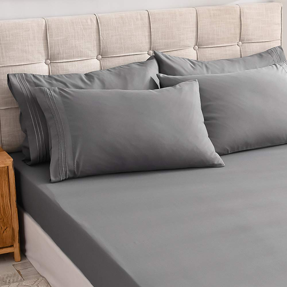 Shilucheng Twin Size 4-Piece Bed Sheets Set Microfiber 1800 Thread Count Percale Twin, Grey 16 Inch Deep Pockets Super Soft and Comforterble Wrinkle Fade and Hypoallergenic