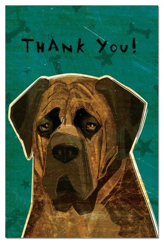 Tree-Free Greetings Eco-Notes Thank You Card Set, 4 x 6 Inches, 12-count Cards with Envelopes, Brindle English Mastiff (93037) ()