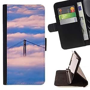 BullDog Case - FOR/Sony Xperia Z1 Compact D5503 / - / Nature San Francisco Cloud Bridge /- Monedero de cuero de la PU Llevar cubierta de la caja con el ID Credit Card Slots Flip funda de cuer