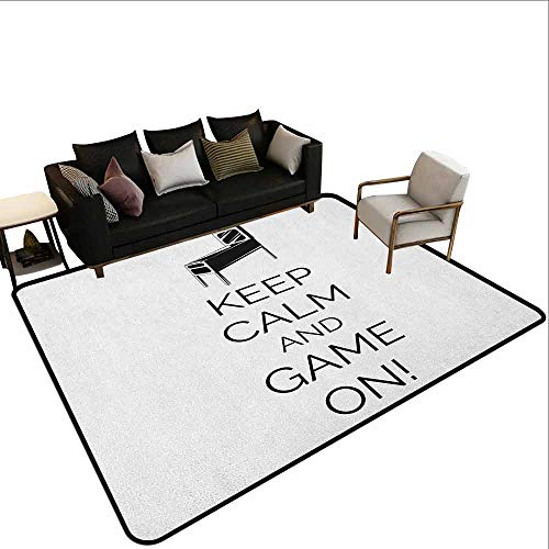 - Thickened Large Size Carpet Keep Calm,Pinball Machine Arcade Room Concept Keep Calm and Game On Fun Entertainment, Black White