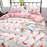 Hxiang 3 Piece pink carrot Comforter Set Complete Bed for kids in a Bag white Super soft with Duvet Cover Sheet Set And Pillowscase (Carrot, Twin)