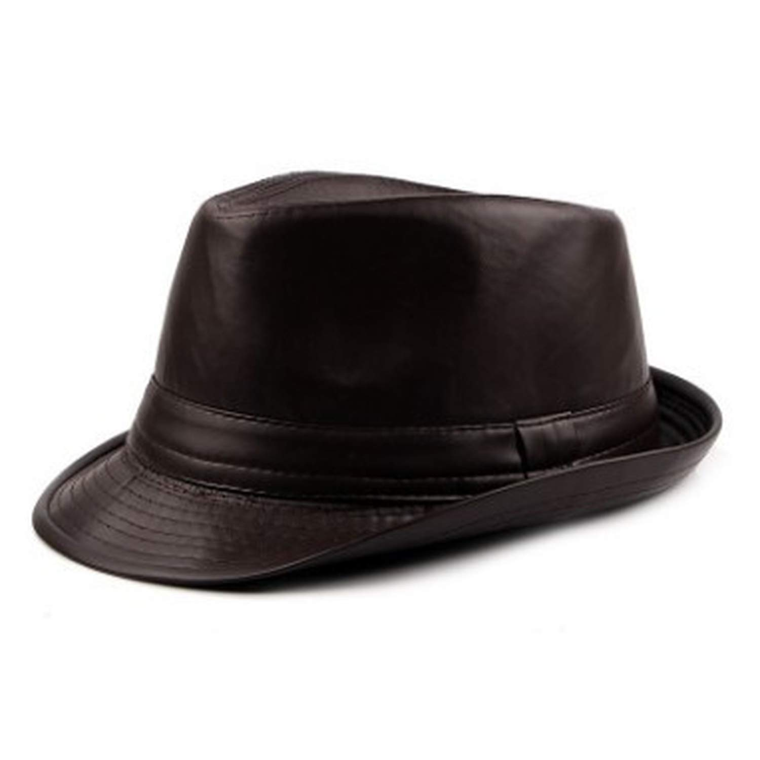 Mens Fedora Autumn and Winter PU Leather Simple Stylish Retro Male Jazz Hats Trendy Street Dance