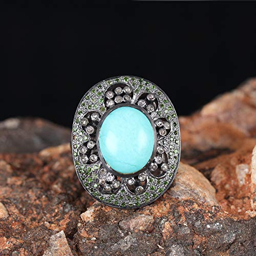 Natural Pave Diamond Turquoise Tsavorite Designer Ring Solid 925 Silver Handmade Wedding Vintage Jewelry Xmas Gift For Her