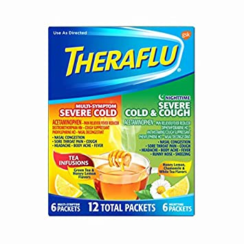 Theraflu MultiSymptom Severe Cold and Nighttime Hot Liquid Powder - Best tasting cough drops