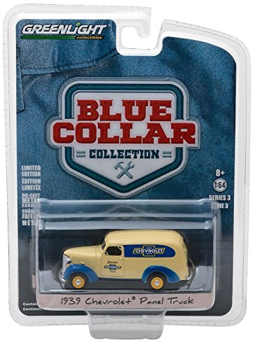 1939 Chevrolet Panel Truck Genuine Chevrolet Parts Blue Collar Collection Series 3 1/64 Diecast Model Car by Greenlight 35080 A