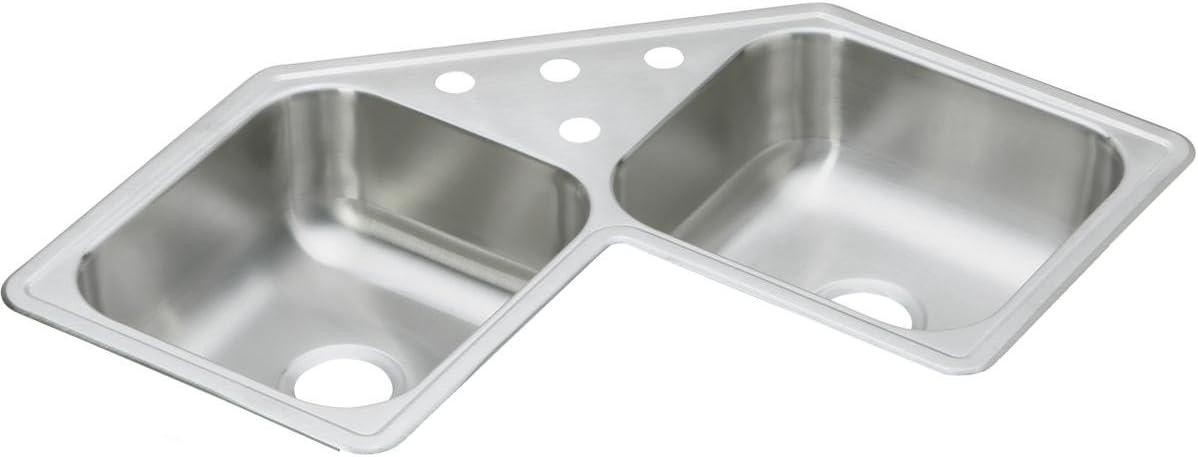 Elkay De217324 Dayton Equal Double Bowl Stainless Steel Corner Sink Amazon Com