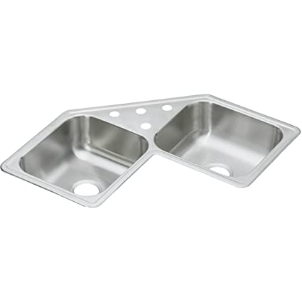 Dayton DE217323 Equal Double Bowl Corner Stainless Steel Sink
