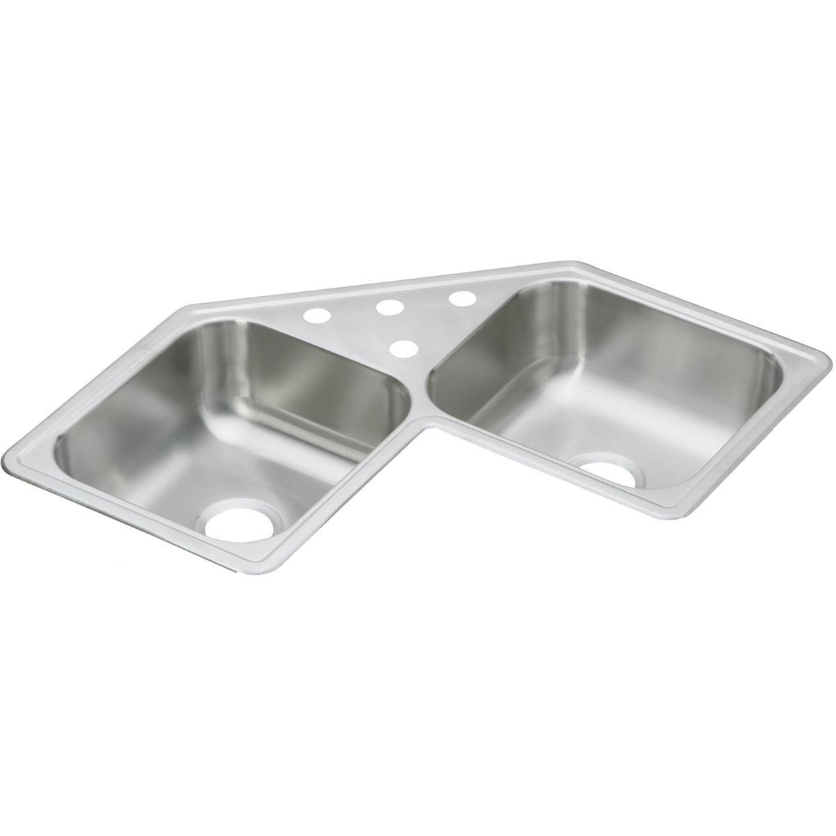Elkay DE217323 Dayton Elite 31-7/8-Inch by 31-7/8-Inch Stainless Steel Double Bowl Three-Hole Top Mount Corner Sink, Ultra Radiant Finish