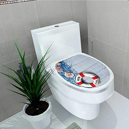Printsonne Decal Wall Art Decor Welcome Board Message Lifebuoy Fishing NSeashell Wood Floor Boat Toilet Decoration W13 x L13 ()