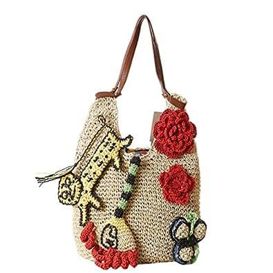 Luckywe Bolso hecho a mano las mujeres chicas bolsa Que teje ...