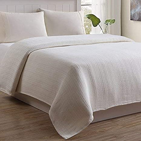 Twin Natural Outlast Cable Weave Luxury Cotton Blanket