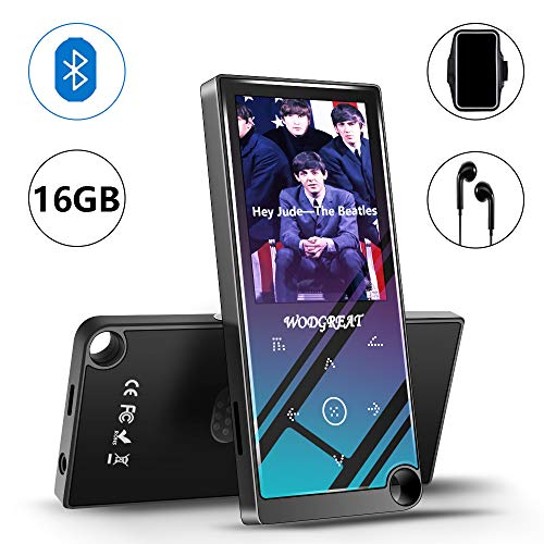 """Wodgreat MP4 Player with Bluetooth 4.2 Portable 16 GB Hi-Fi Lossless Sound MP4/MP3 Music Player, Built-in Speaker, Expand to 128GB, Pedometer, 2.4"""" Screen Earphone Armband"""
