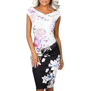 96c67c3d4e37 Vintage Floral Cocktail Party Dress for Women Retro Elegant V Neck Off  Shoulder Cap-Sleeve Backless Bodycon Pencil Dresses  Amazon.co.uk  Clothing