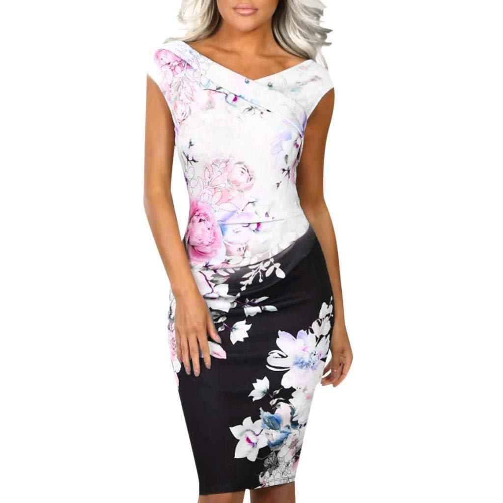 Women V Neck Power Trip Multi Floral Print Party Evening Bodycon Midi Dress (L, White)