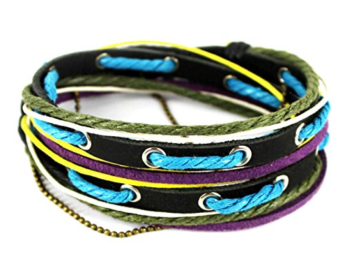 Konalla Wrap Long Leather Wristband Unisex Rope Chain Adjustable Bracelet, - Where Glasses Can Buy Hippie I