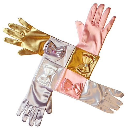 RQJ Girls Pearl Bowknot Colored-light Long Formal Full Finger Gold Glove Princess Dress Gloves for Wedding Accessories and Party Cosplay (Disney Princess Belle Wedding Dress)