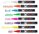 Professional Artist Quality Fine Tip Chalk Marker Pens - Set of 8 Color Wet Erase Markers + BONUS 24 Chalk Board Stickers