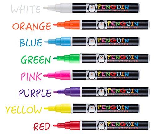 Professional Artist Quality Fine Tip Chalk Marker Pens - Set of 8 Color Wet Erase Markers + BONUS 24 Chalk Board Stickers