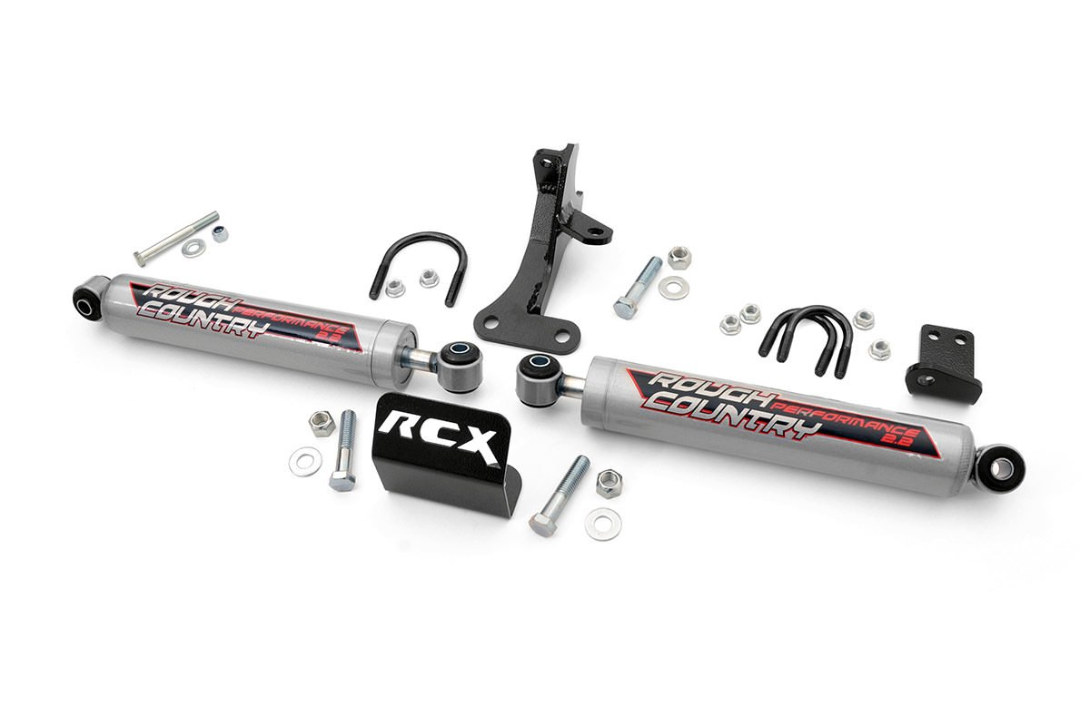 Rough Country Suspension 87496 Dual Steering Stabilizer