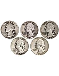 Count of 5 - 90% Silver Washington Quarters Fine