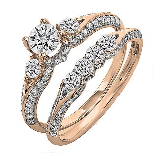 Dazzlingrock Collection 1.45 Carat (ctw) 18K Round Diamond 3 Stone Bridal Engagement Ring Set 1 1/2 CT, Rose Gold, Size - Round Diamond Ct 1.45