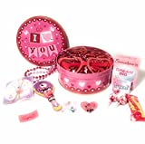 valentines day kids gift baskets - Happy Valentines Day Kids Gift Basket 11 Piece Set Gifts and Candy For That Special Someone - Pink and Red I Love You