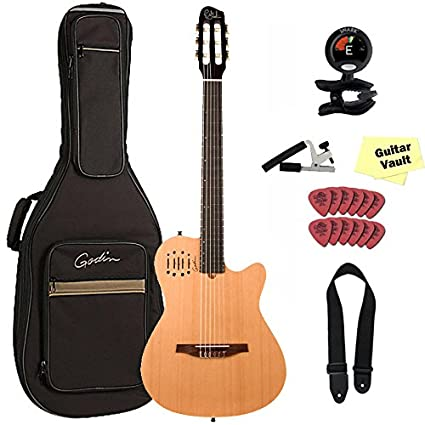 Godin multiac nailon Encore acústica eléctrica guitarra clásica con funda y set de accesorios,